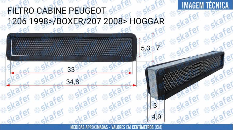 imagem de FILTRO CABINE PEUGEOT 206 1998 EM DIANTE BOXER 207 2008 EM DIANTE HOGGAR