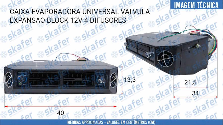 imagem de CAIXA EVAPORADORA UNIVERSAL VÁLVULA EXPANSÃO BLOCK 12V 4 DIFUSORES