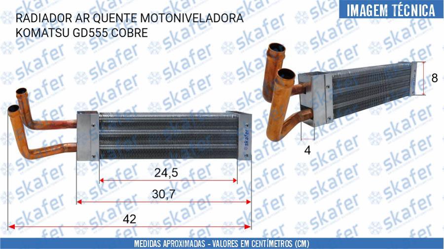 imagem de RADIADOR AR QUENTE MOTONIVELADORA KOMATSU GD555 COBRE TW5027002520 SKAFER