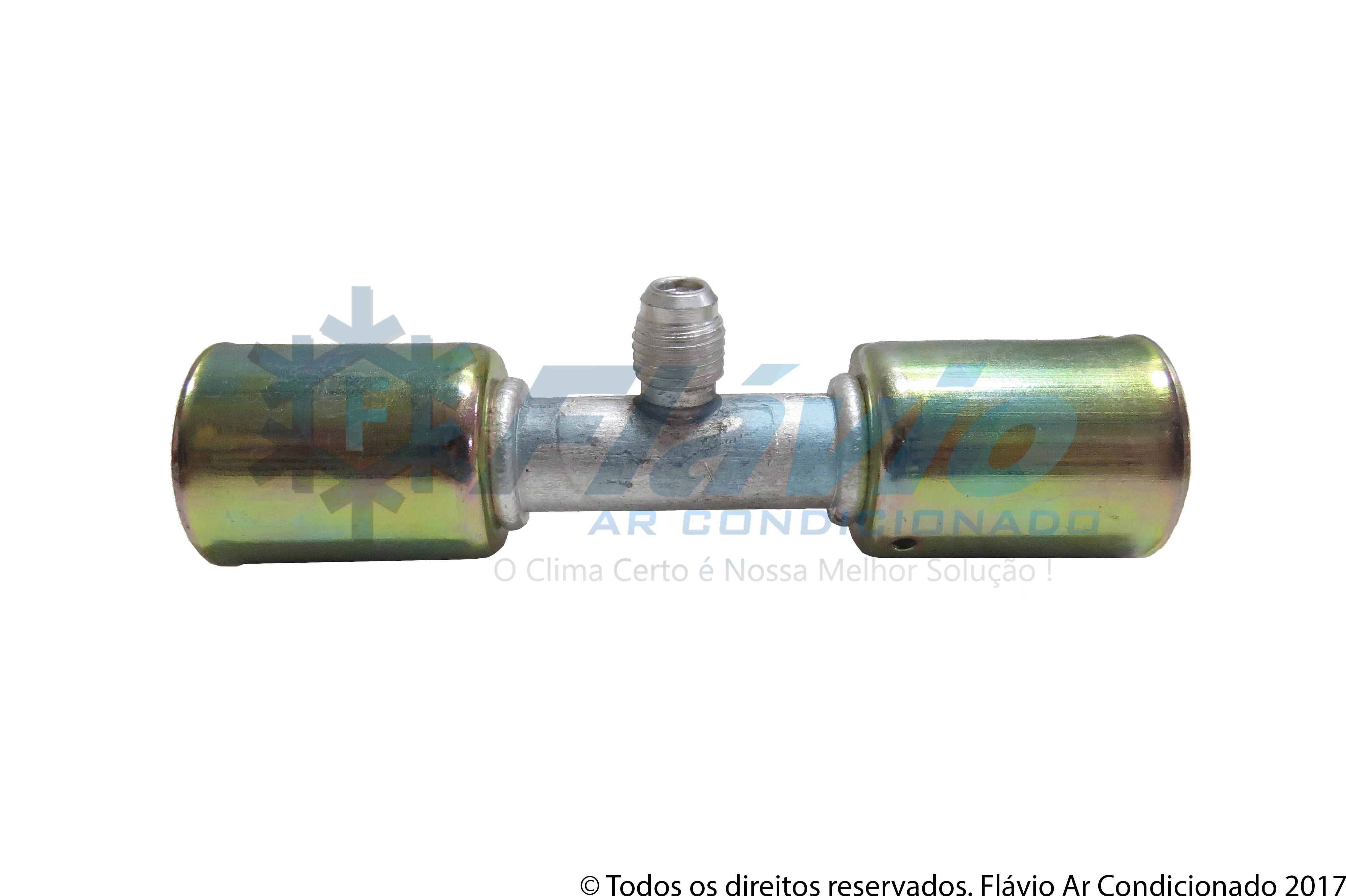 EMENDA 10MM ALUMINIO COM VALVULA R12 COM CLIP