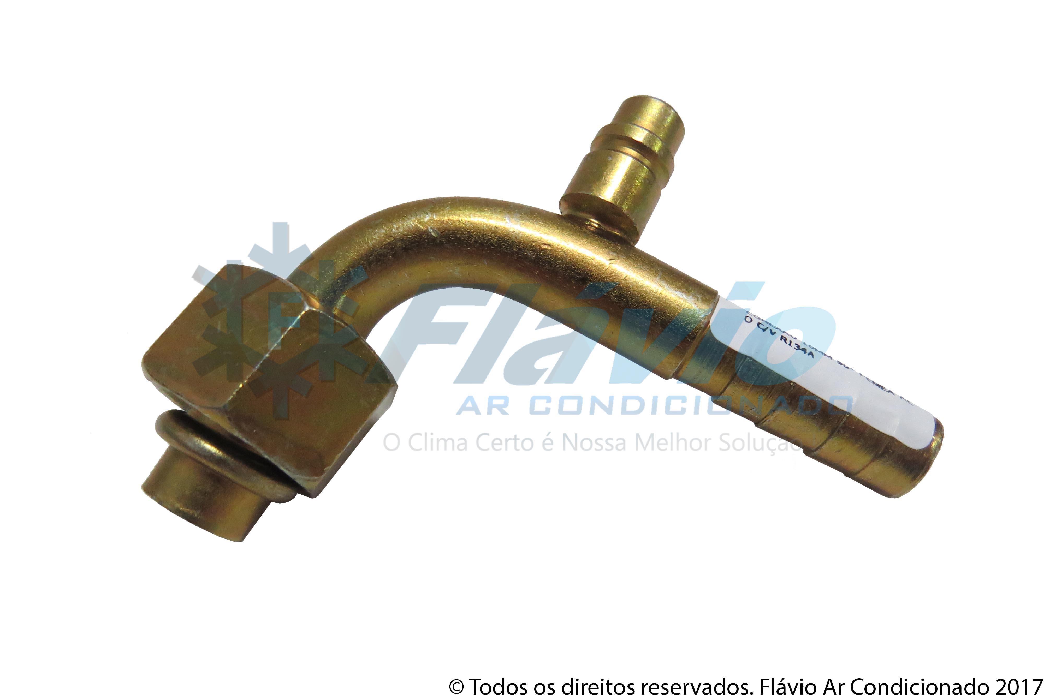 CONEXAO 10MM 90° FEMEA ACO COM VALVULA R134A